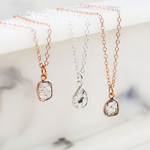 Rose Gold And Silver Small Diamond Slice Necklace - gifts for her