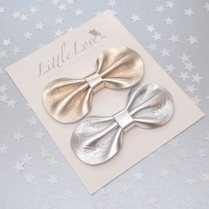 Girls Party Hair Bow Set Gold And Silver
