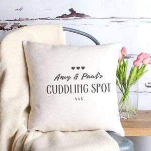 Personalised 'Cuddling Spot' Cushion Cover