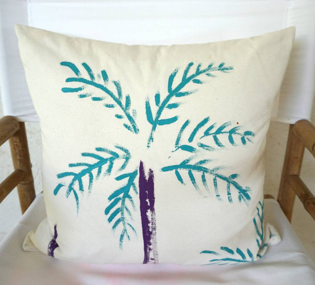 Christabel's Christabel's Hand Painted Turquoise Palm Tree Cushion