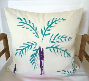 Christabel's Hand Painted Turquoise Palm Tree Cushion - cushions