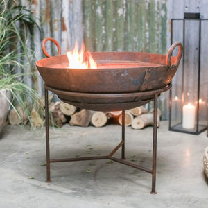 Reclaimed Iron Fire Pit With Grill - new in garden