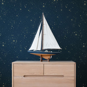 Gold Stella/Night Blue Wallpaper - children's room