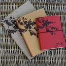 Personalised Leather Diaries Japanese Blossom Engraving