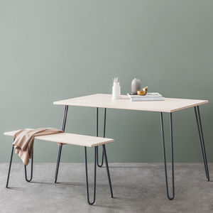Dining Set With Industrial Hairpin Legs In Plywood