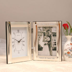 Elegant Engraved Clock And Photo Frame - office & study