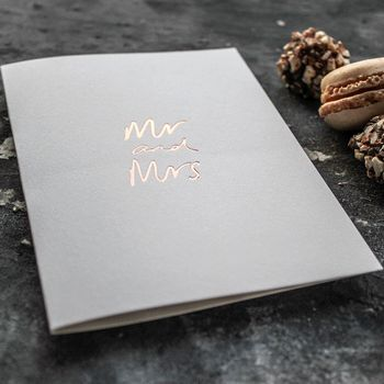 'Mr And Mrs' Hand Rose Gold Foil Wedding Card