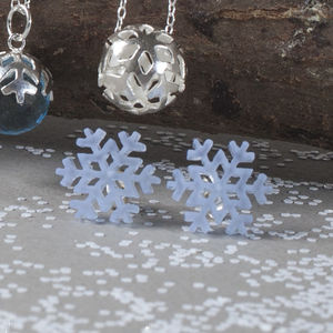 Perspex And Silver Snowflake Stud Earrings
