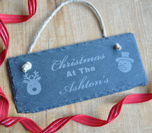 Personalised Christmas Slate Sign - christmas decorations