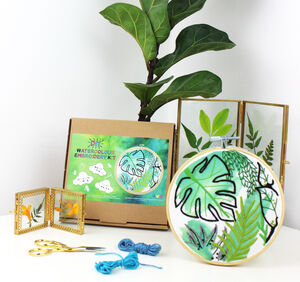 Jungle Plants Watercolour Embroidery Kit