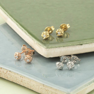 Sterling Silver Stone Set Rose Stud Earrings - children's accessories