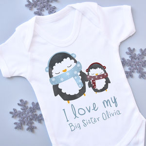 Personalised Penguin Sibling Vest - clothing