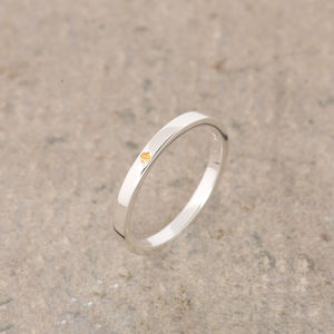 Citrine Silver Stacking Ring November Birthstone - women's jewellery