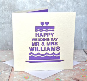 Personalised Laser Cut Wedding Day Cake Card