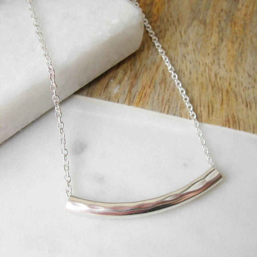 Hammered Silver Bar Necklace By Hazey Designs