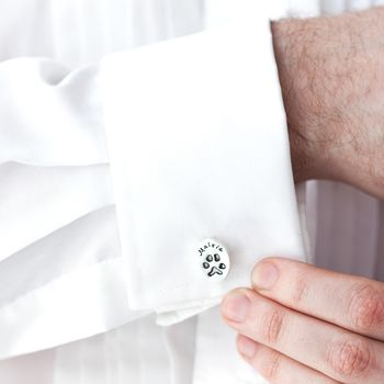Silver Personalised Pet Paw Print Cufflinks