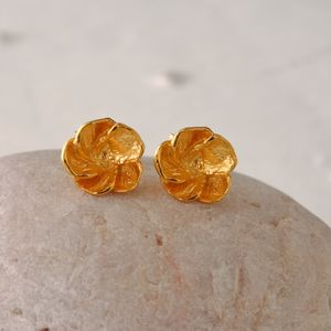 Gold Blossom Stud Earrings - earrings