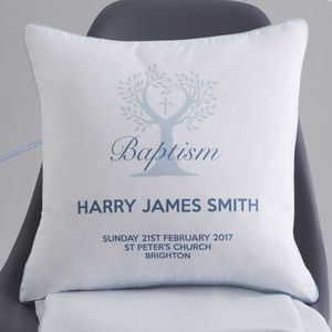 Personalised Baptism Tree Cushion - baby's room