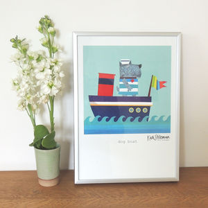 Dog In A Boat Art Print