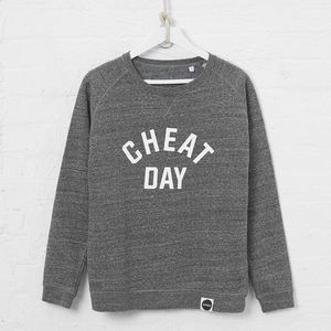 Cheat Day Organic Cotton Blend Sweatshirt, Slate Grey - gifts for her