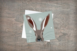 Hare Greetings Card Sage