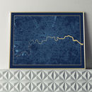 Limited Edition London Screen Print In Navy And Gold