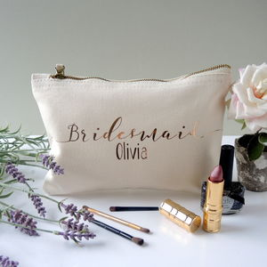 Personalised Bridesmaid Make Up Bag - one week to go