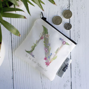 Botanical Inspired Coin Purse With Name Personalisation