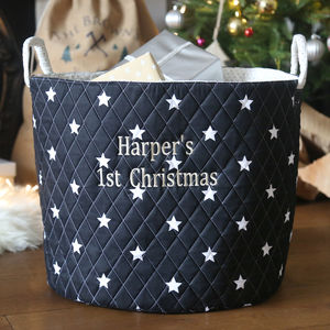 Personalised 1st Christmas Storage Bag - baby's room