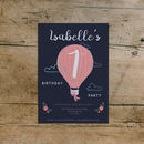 Hot Air Balloon Kid's Birthday Garden Party Invites