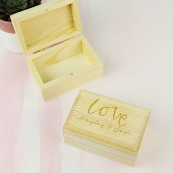 Personalised Engraved 'Love' Wooden Ring Box