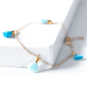 Personalised Gold Tassel Anklet