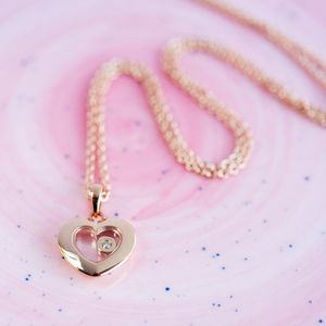 Rose Gold Heart Floating Diamond Necklace*