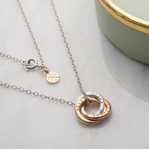 Personalised 9ct Gold Diamond Mini Russian Necklace