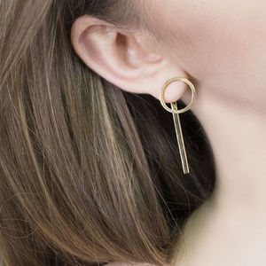 Gold Circle Two Way Disc Stud Earrings