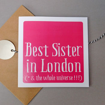 Personalised 'Best Sister In' Card