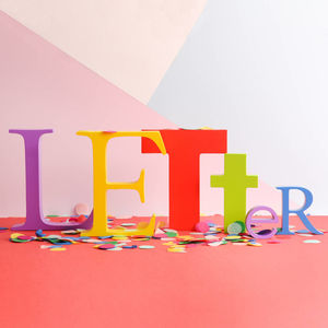 Mixed Bright Wooden Letters - decoration