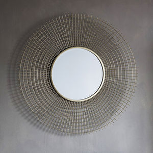 Round Gold Wirework Wall Mirror - mirrors