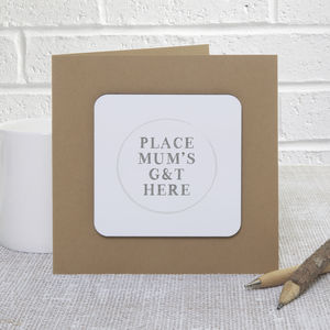 'Mum's Drink' Mother's Day Coaster Card