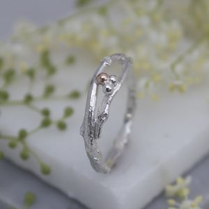 Woodland Twig Band Ring, Twig Wedding Ring - more