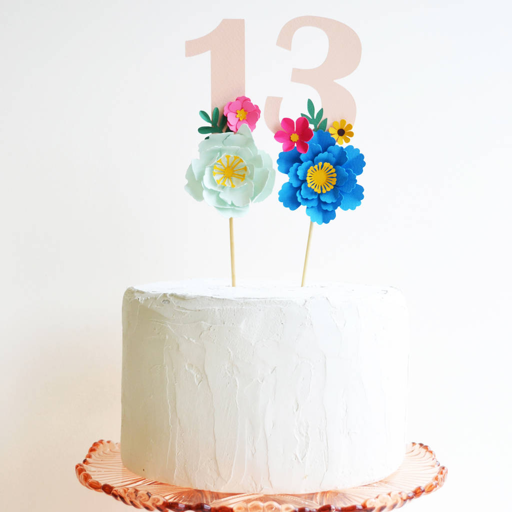 Handmade Birthday Age Paper Flower Cake Topper By May Contain
