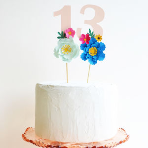Handmade Birthday Age Paper Flower Cake Topper - party decorations