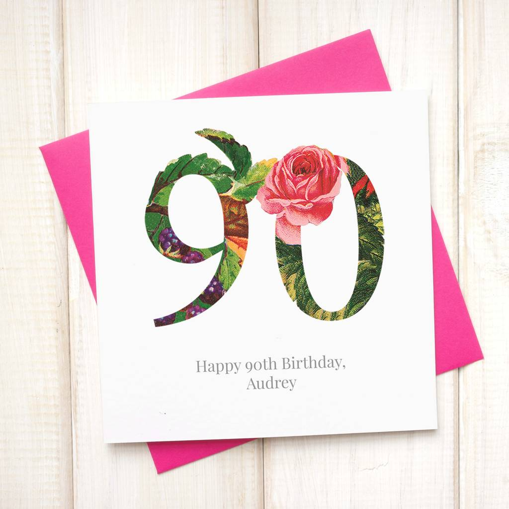 Personalised 90th Floral Birthday Card