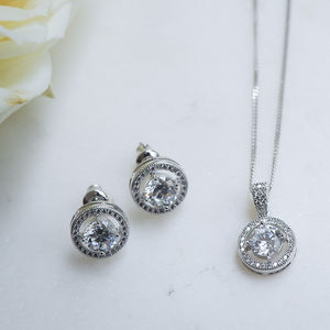 Solitaire Halo Crystal Earrings And Pendant Set - jewellery sets