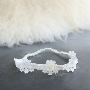 Silk Headband With Lace Detail 'Darcy' - womens