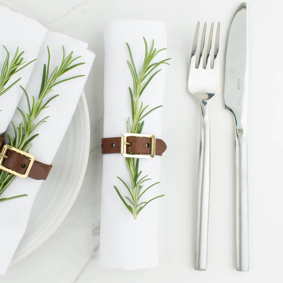Create Gift Love Personalised Leather Napkin Ring Buckle Set