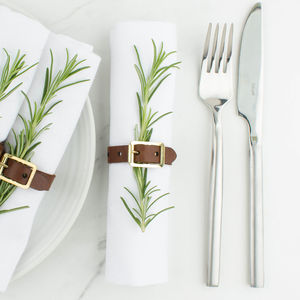 Personalised Leather Napkin Ring Buckle Set - dining room