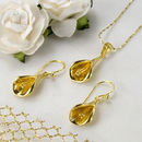 Gold Plated Sterling Silver Calla Lily Necklace