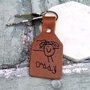 Personalised Leather Child's Drawing Key Ring