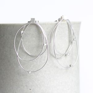 Handmade Silver Circular Satellite Earrings